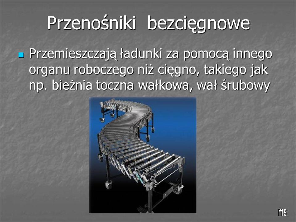 Przenośniki bezcięgnowe Przemieszczają ładunki za pomocą innego organu roboczego niż cięgno, takiego jak np. bieżnia toczna wałkowa, wał śrubowy Przem