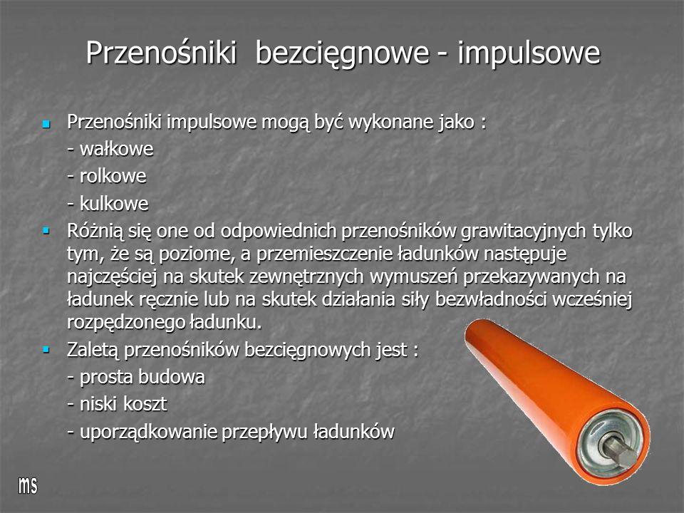 Przenośniki bezcięgnowe - impulsowe Przenośniki impulsowe mogą być wykonane jako : Przenośniki impulsowe mogą być wykonane jako : - wałkowe - rolkowe