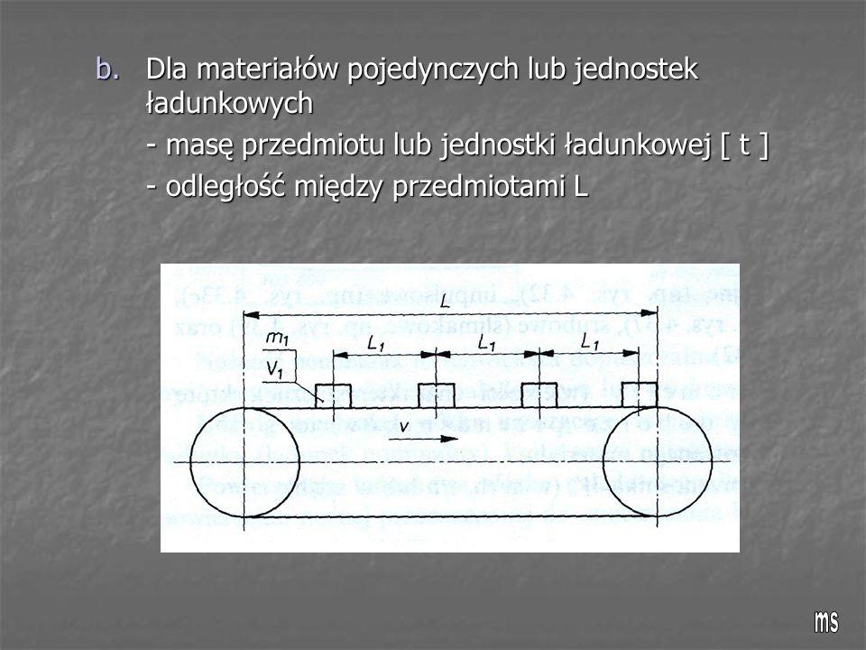 b.Dla materiałów pojedynczych lub jednostek ładunkowych - masę przedmiotu lub jednostki ładunkowej [ t ] - odległość między przedmiotami L