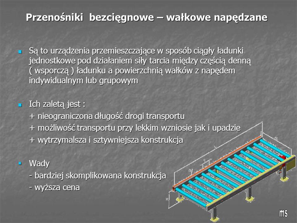 Przenośniki bezcięgnowe – wałkowe napędzane Są to urządzenia przemieszczające w sposób ciągły ładunki jednostkowe pod działaniem siły tarcia między częścią denną ( wsporczą ) ładunku a powierzchnią wałków z napędem indywidualnym lub grupowym Są to urządzenia przemieszczające w sposób ciągły ładunki jednostkowe pod działaniem siły tarcia między częścią denną ( wsporczą ) ładunku a powierzchnią wałków z napędem indywidualnym lub grupowym Ich zaletą jest : Ich zaletą jest : + nieograniczona długość drogi transportu + możliwość transportu przy lekkim wzniosie jak i upadzie + wytrzymalsza i sztywniejsza konstrukcja  Wady - bardziej skomplikowana konstrukcja - wyższa cena