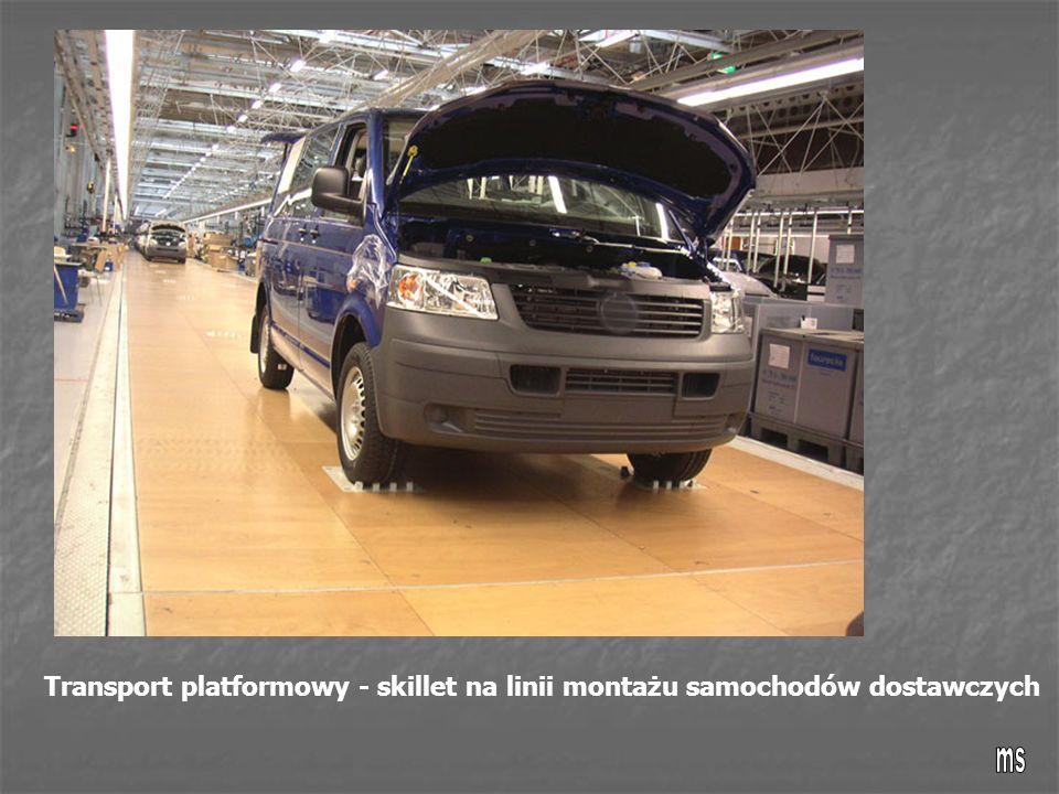 Transport platformowy - skillet na linii montażu samochodów dostawczych