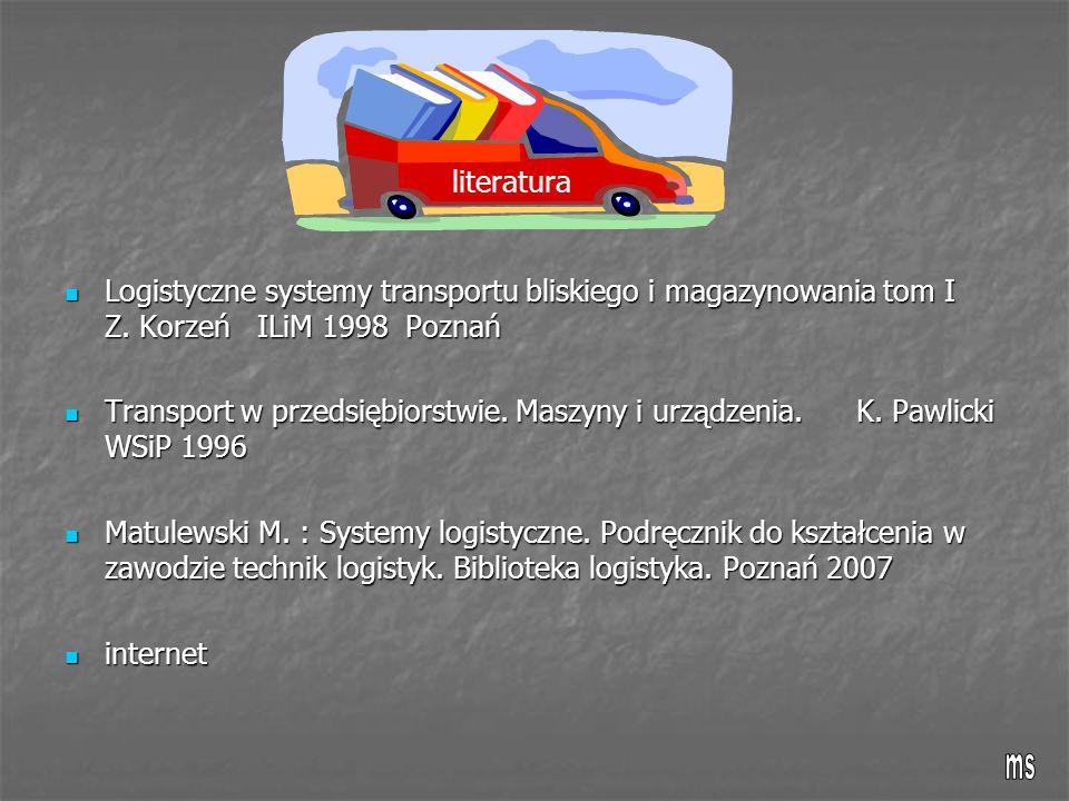 Logistyczne systemy transportu bliskiego i magazynowania tom I Z. Korzeń ILiM 1998 Poznań Logistyczne systemy transportu bliskiego i magazynowania tom