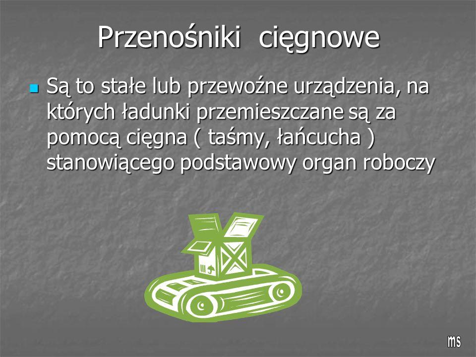 Przenośniki cięgnowe Są to stałe lub przewoźne urządzenia, na których ładunki przemieszczane są za pomocą cięgna ( taśmy, łańcucha ) stanowiącego podstawowy organ roboczy Są to stałe lub przewoźne urządzenia, na których ładunki przemieszczane są za pomocą cięgna ( taśmy, łańcucha ) stanowiącego podstawowy organ roboczy