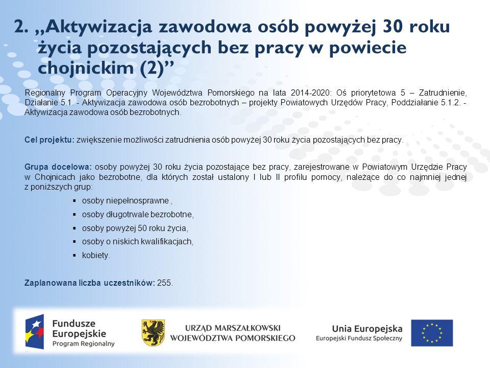 """Page  8 2. """"Aktywizacja zawodowa osób powyżej 30 roku życia pozostających bez pracy w powiecie chojnickim (2)"""" Regionalny Program Operacyjny Wojewódz"""