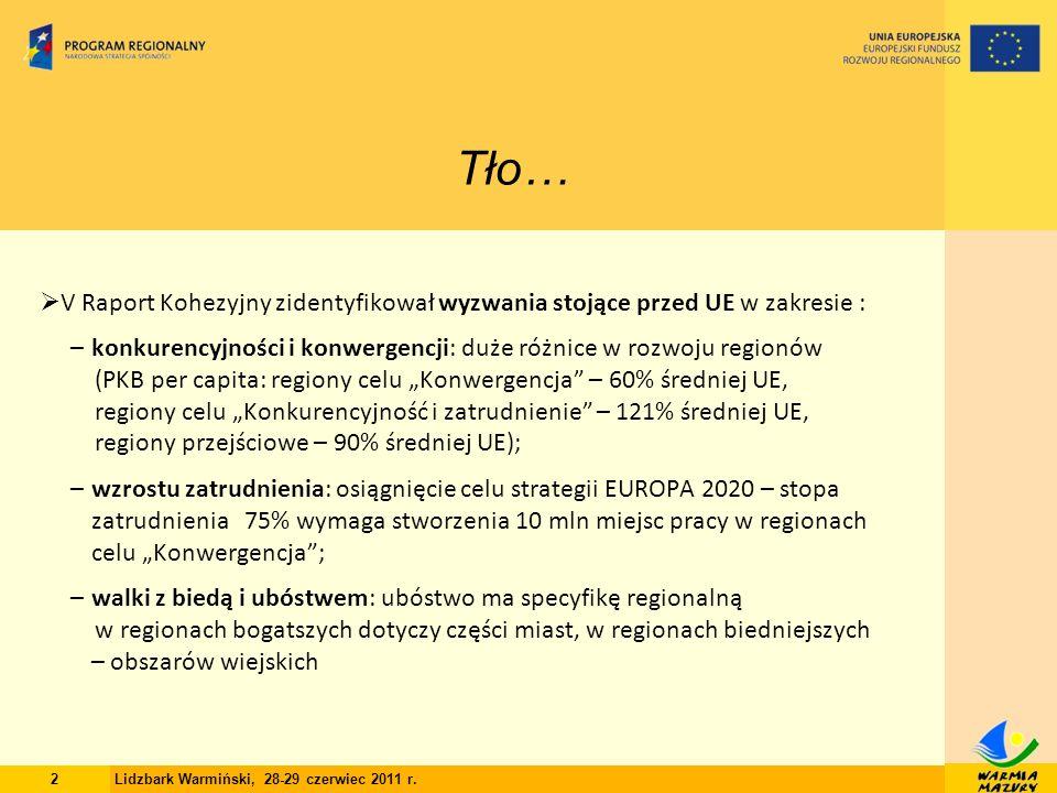 13 Dziękuję za uwagę… Lidia Wójtowicz Dyrektor Departamentu Polityki Regionalnej Urząd Marszałkowski Województwa Warmińsko-Mazurskiego w Olsztynie Lidzbark Warmiński, 28-29 czerwiec 2011 r.