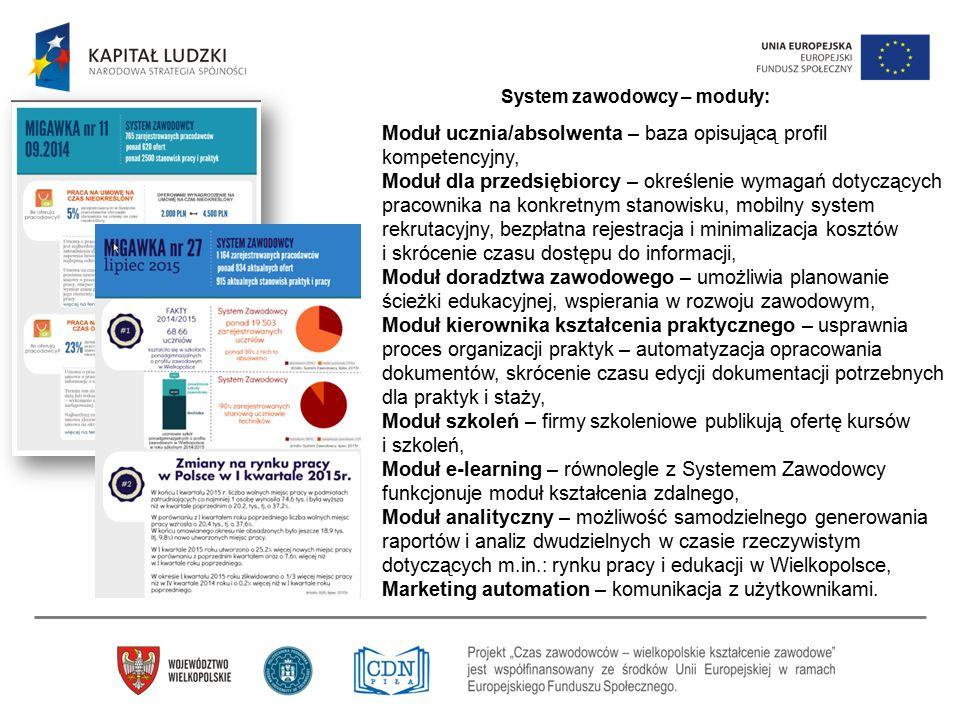 System zawodowcy – moduły: Moduł ucznia/absolwenta – baza opisującą profil kompetencyjny, Moduł dla przedsiębiorcy – określenie wymagań dotyczących pr