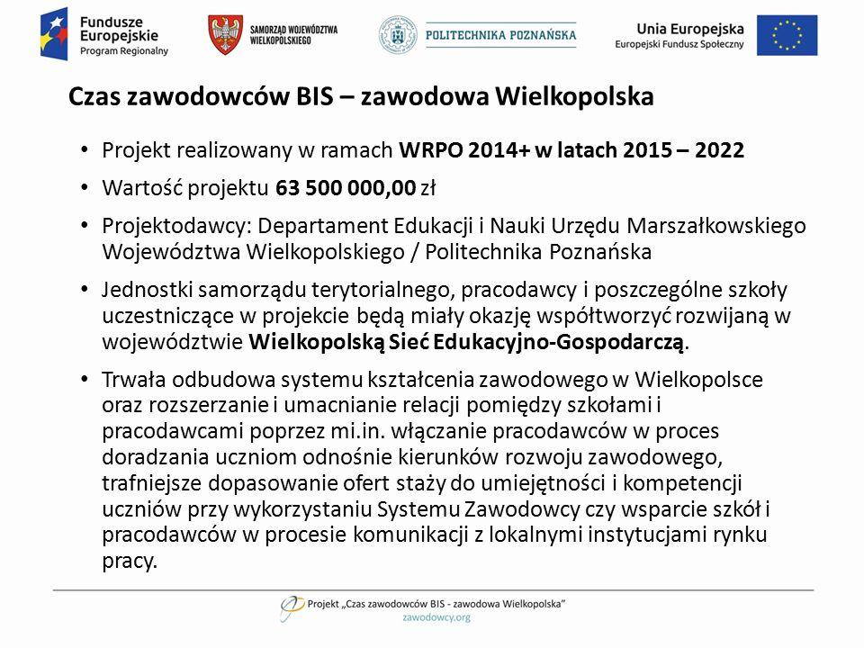 Czas zawodowców BIS – zawodowa Wielkopolska Projekt realizowany w ramach WRPO 2014+ w latach 2015 – 2022 Wartość projektu 63 500 000,00 zł Projektodaw