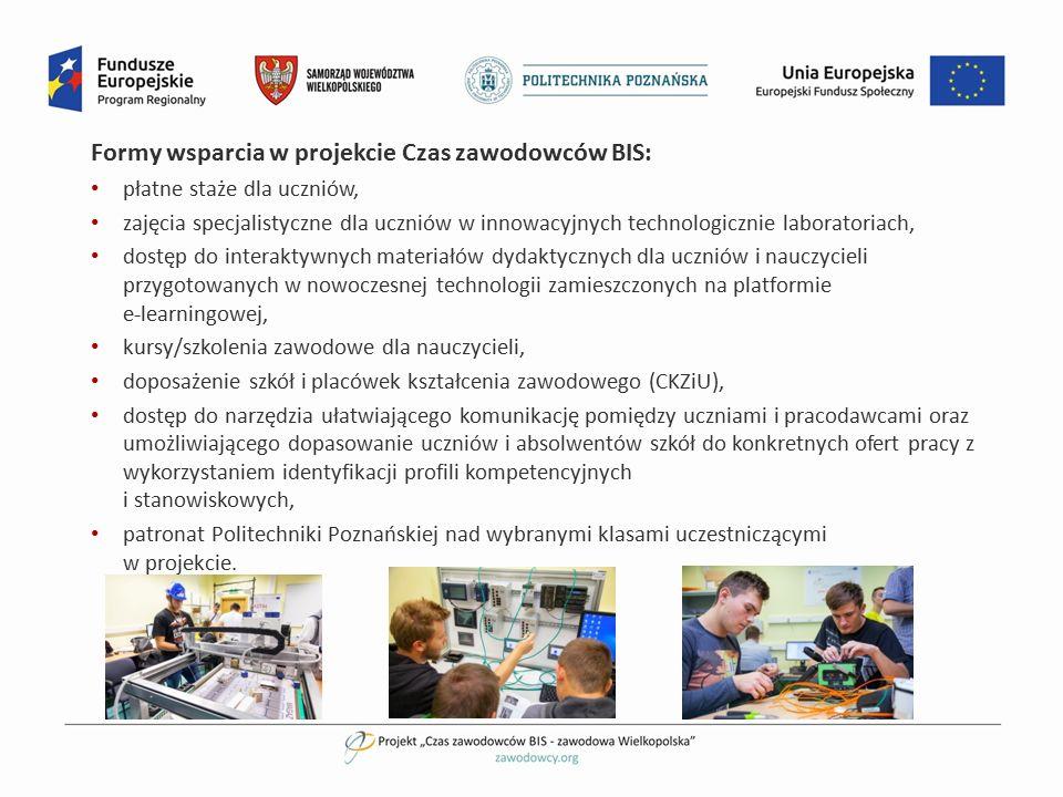 Formy wsparcia w projekcie Czas zawodowców BIS: płatne staże dla uczniów, zajęcia specjalistyczne dla uczniów w innowacyjnych technologicznie laborato
