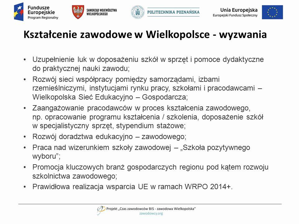 Kształcenie zawodowe w Wielkopolsce - wyzwania Uzupełnienie luk w doposażeniu szkół w sprzęt i pomoce dydaktyczne do praktycznej nauki zawodu; Rozwój