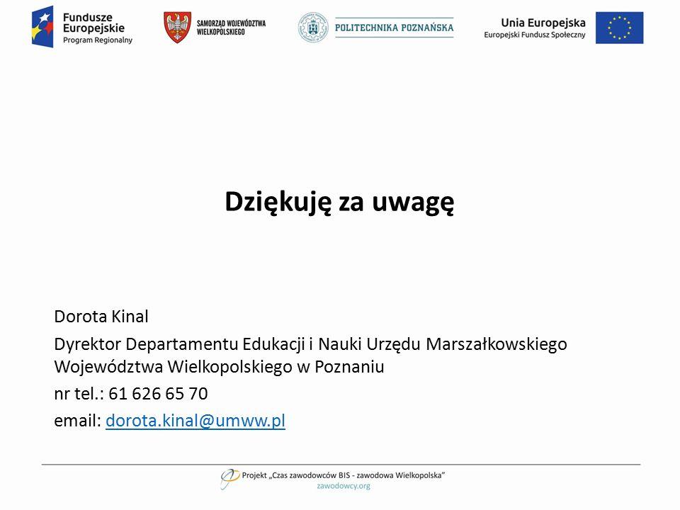Dziękuję za uwagę Dorota Kinal Dyrektor Departamentu Edukacji i Nauki Urzędu Marszałkowskiego Województwa Wielkopolskiego w Poznaniu nr tel.: 61 626 6