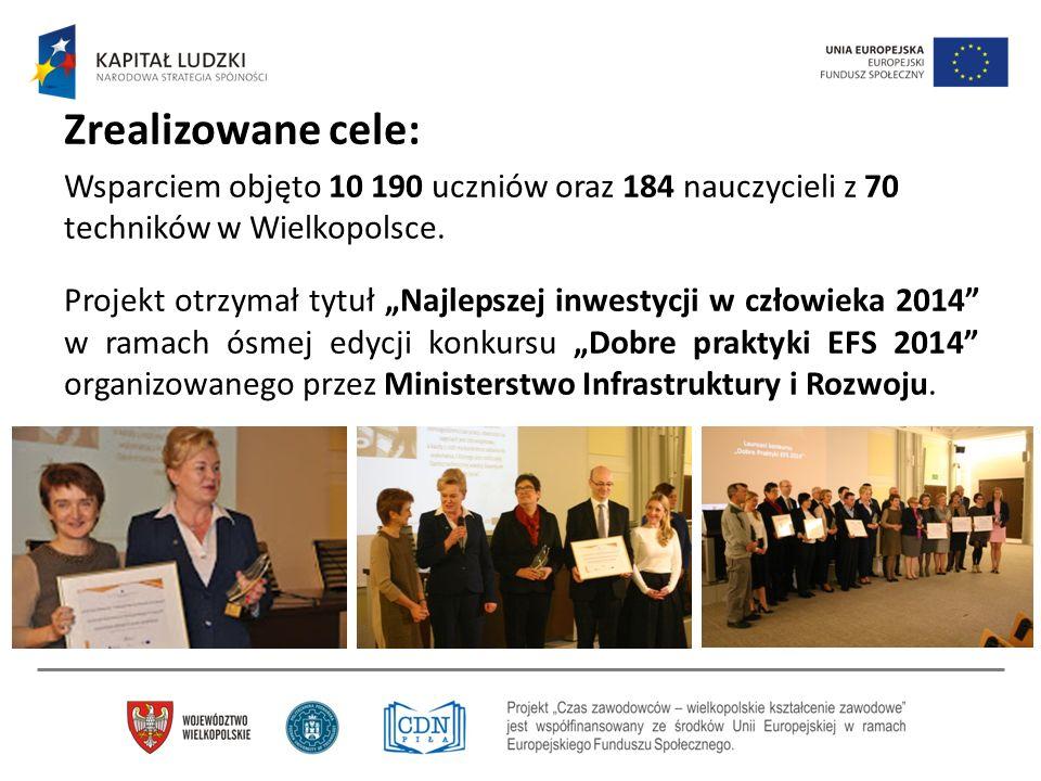 """Zrealizowane cele: Wsparciem objęto 10 190 uczniów oraz 184 nauczycieli z 70 techników w Wielkopolsce. Projekt otrzymał tytuł """"Najlepszej inwestycji w"""