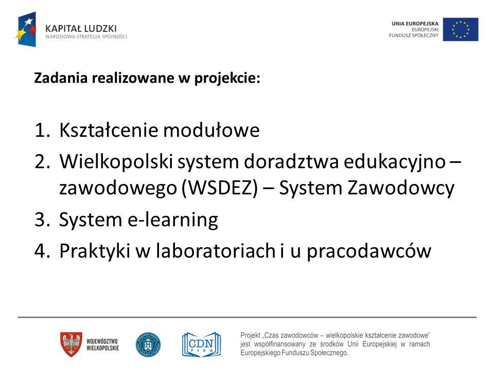 Zadania realizowane w projekcie: 1.Kształcenie modułowe 2.Wielkopolski system doradztwa edukacyjno – zawodowego (WSDEZ) – System Zawodowcy 3.System e-
