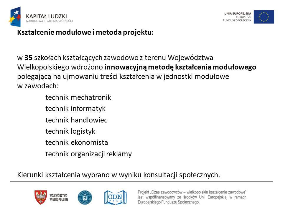 Kształcenie modułowe i metoda projektu: w 35 szkołach kształcących zawodowo z terenu Województwa Wielkopolskiego wdrożono innowacyjną metodę kształcen
