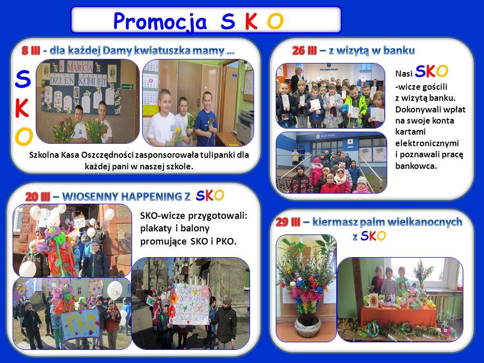 SKOSKO Szkolna Kasa Oszczędności zasponsorowała tulipanki dla każdej pani w naszej szkole.