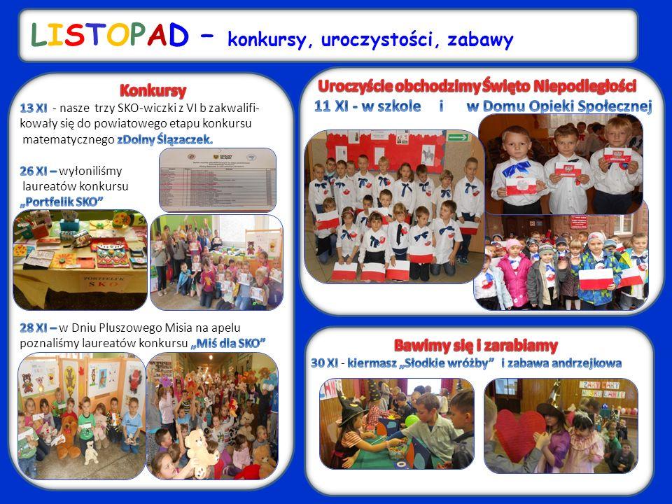 LISTOPAD – konkursy, uroczystości, zabawy u