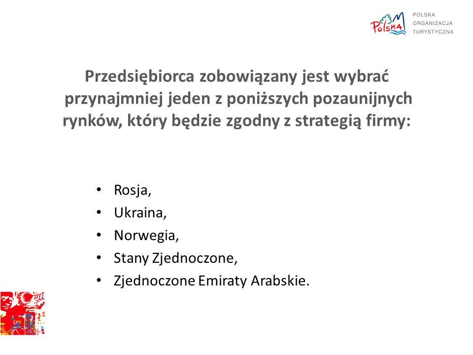 Przedsiębiorca zobowiązany jest wybrać przynajmniej jeden z poniższych pozaunijnych rynków, który będzie zgodny z strategią firmy: Rosja, Ukraina, Norwegia, Stany Zjednoczone, Zjednoczone Emiraty Arabskie.