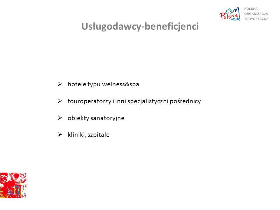 Usługodawcy-beneficjenci  hotele typu welness&spa  touroperatorzy i inni specjalistyczni pośrednicy  obiekty sanatoryjne  kliniki, szpitale