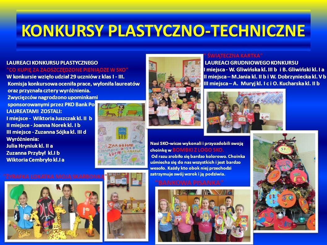 KONKURSY PLASTYCZNO-TECHNICZNE LAUREACI KONKURSU PLASTYCZNEGO CO KUPIĘ ZA ZAOSZCZĘDZONE PIENIĄDZE W SKO W konkursie wzięło udział 29 uczniów z klas I - III.