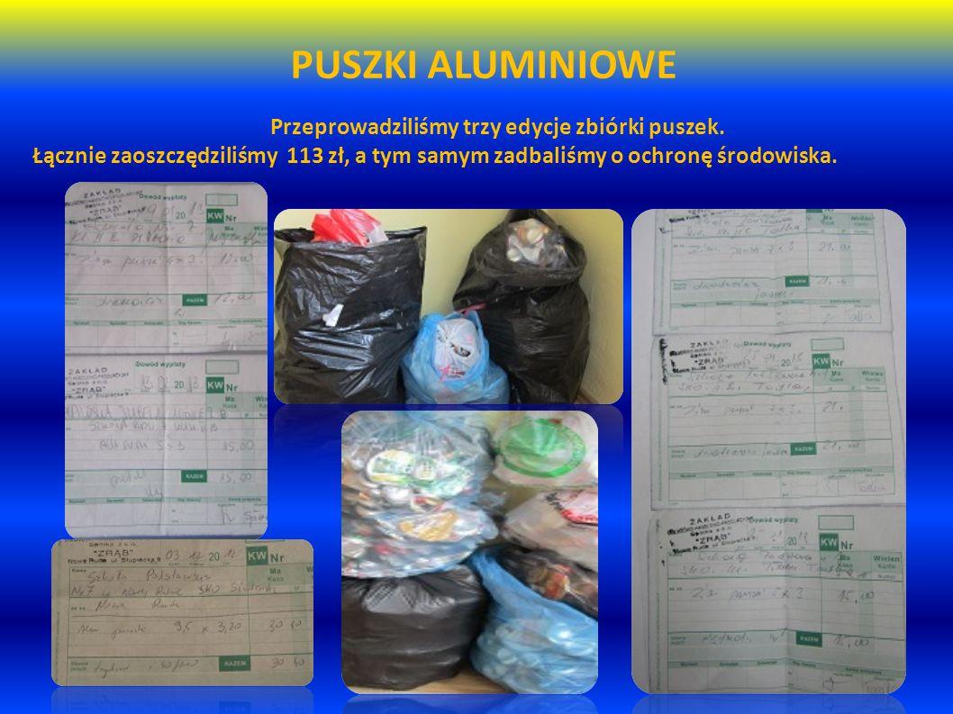 PUSZKI ALUMINIOWE Przeprowadziliśmy trzy edycje zbiórki puszek. Łącznie zaoszczędziliśmy 113 zł, a tym samym zadbaliśmy o ochronę środowiska.