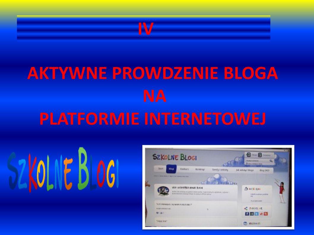 IV AKTYWNE PROWDZENIE BLOGA NA PLATFORMIE INTERNETOWEJ