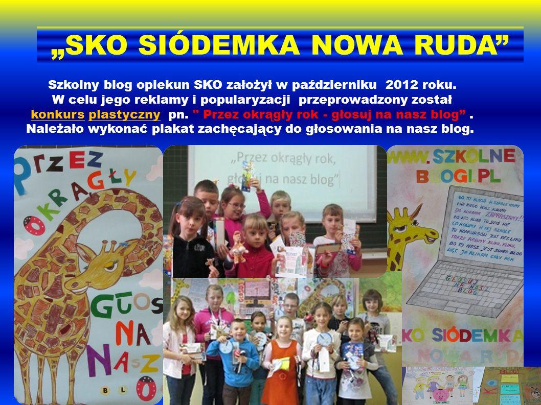 Szkolny blog opiekun SKO założył w październiku 2012 roku. W celu jego reklamy i popularyzacji przeprowadzony został konkurs plastyczny pn.