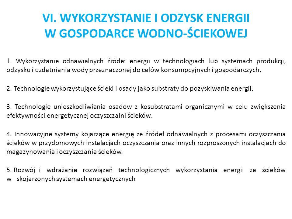 VI. WYKORZYSTANIE I ODZYSK ENERGII W GOSPODARCE WODNO-ŚCIEKOWEJ 1. Wykorzystanie odnawialnych źródeł energii w technologiach lub systemach produkcji,