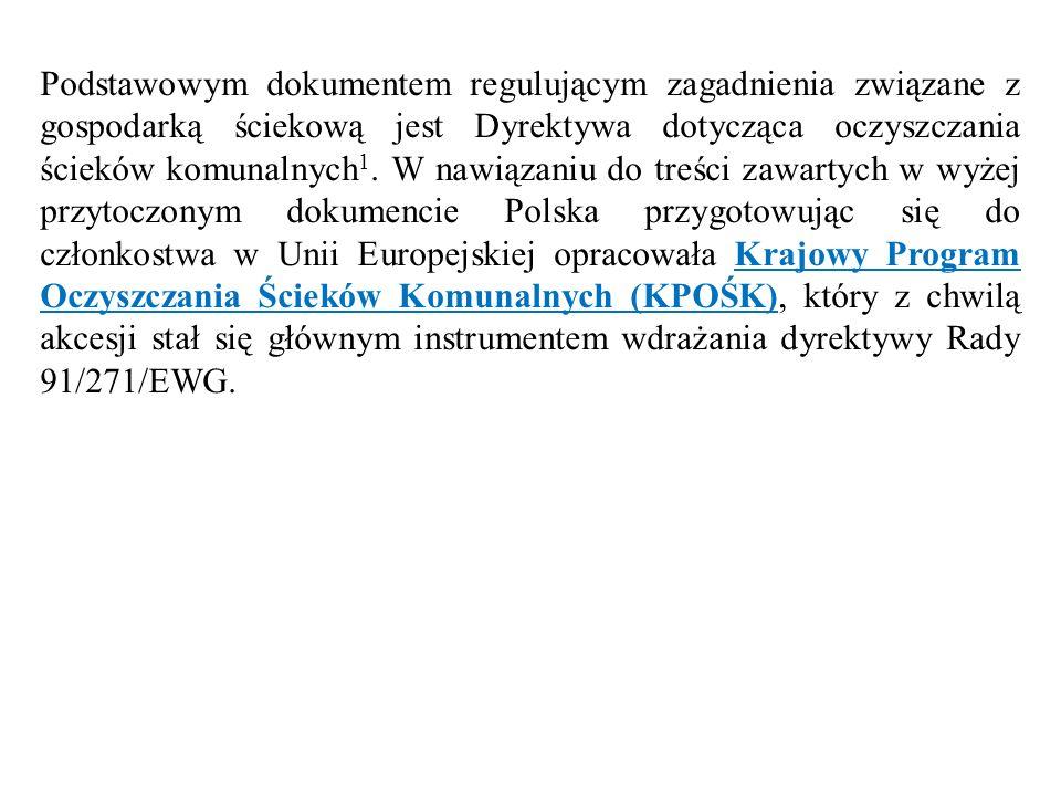 Podstawowym dokumentem regulującym zagadnienia związane z gospodarką ściekową jest Dyrektywa dotycząca oczyszczania ścieków komunalnych 1. W nawiązani