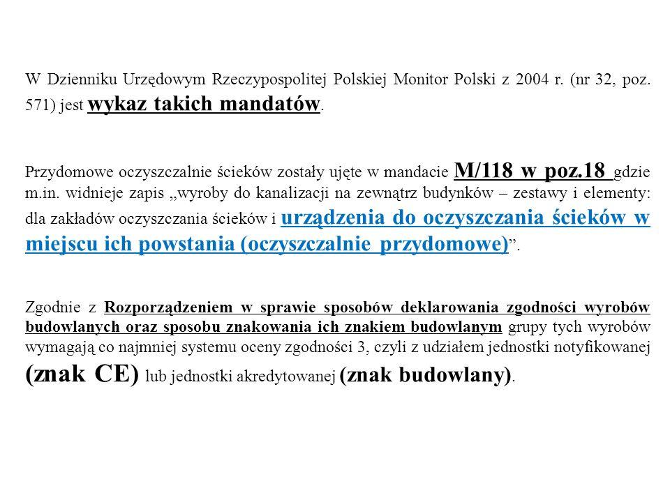 W Dzienniku Urzędowym Rzeczypospolitej Polskiej Monitor Polski z 2004 r. (nr 32, poz. 571) jest wykaz takich mandatów. Przydomowe oczyszczalnie ściekó