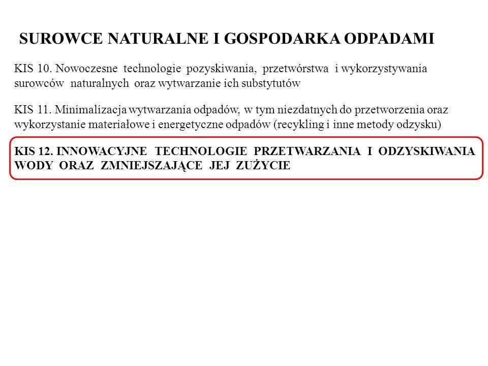 SUROWCE NATURALNE I GOSPODARKA ODPADAMI KIS 10. Nowoczesne technologie pozyskiwania, przetwórstwa i wykorzystywania surowców naturalnych oraz wytwarza