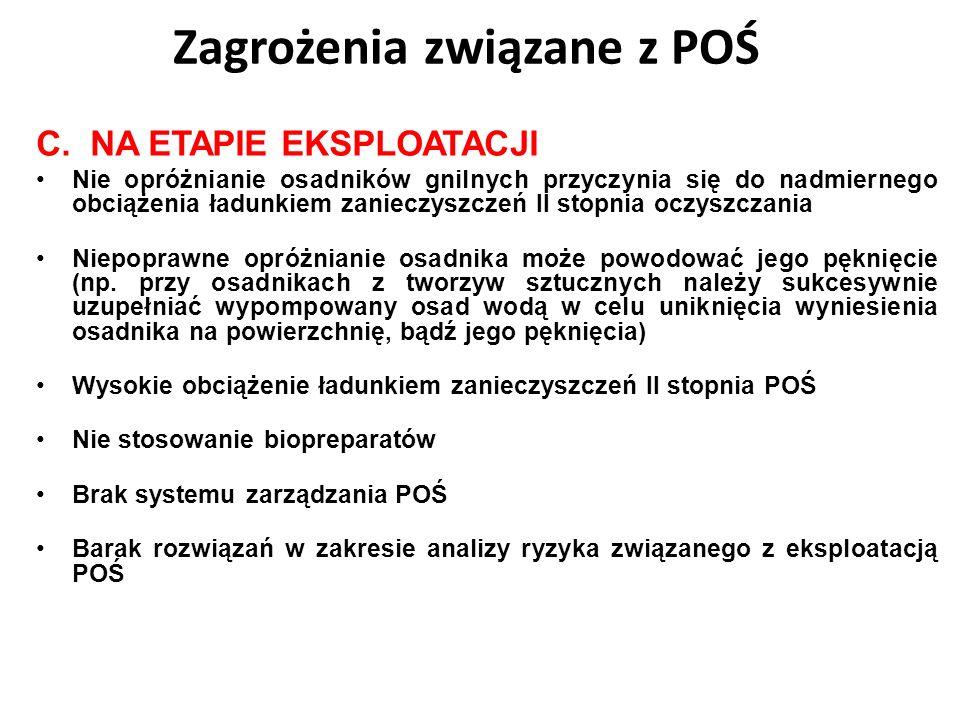 C.NA ETAPIE EKSPLOATACJI Nie opróżnianie osadników gnilnych przyczynia się do nadmiernego obciążenia ładunkiem zanieczyszczeń II stopnia oczyszczania