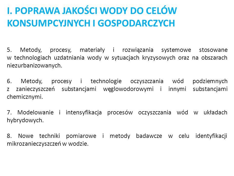 I. POPRAWA JAKOŚCI WODY DO CELÓW KONSUMPCYJNYCH I GOSPODARCZYCH 5. Metody, procesy, materiały i rozwiązania systemowe stosowane w technologiach uzdatn
