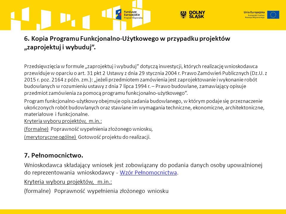 """6. Kopia Programu Funkcjonalno-Użytkowego w przypadku projektów """"zaprojektuj i wybuduj ."""