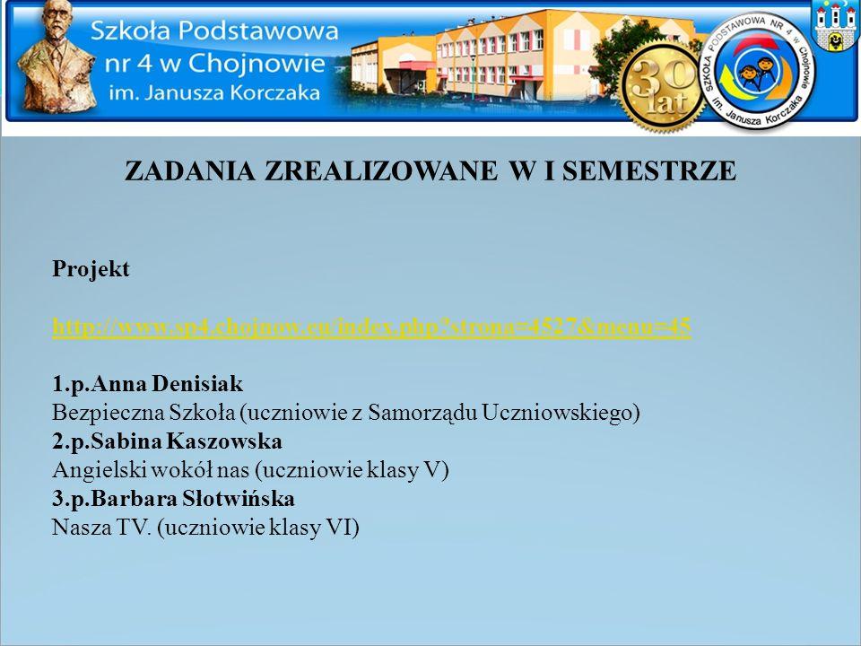 ZADANIA ZREALIZOWANE W I SEMESTRZE Projekt http://www.sp4.chojnow.eu/index.php?strona=4527&menu=45 1.p.Anna Denisiak Bezpieczna Szkoła (uczniowie z Sa