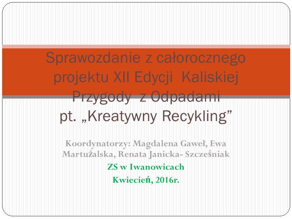Koordynatorzy: Magdalena Gaweł, Ewa Martu ż alska, Renata Janicka- Szcze ś niak ZS w Iwanowicach Kwiecie ń, 2016r.