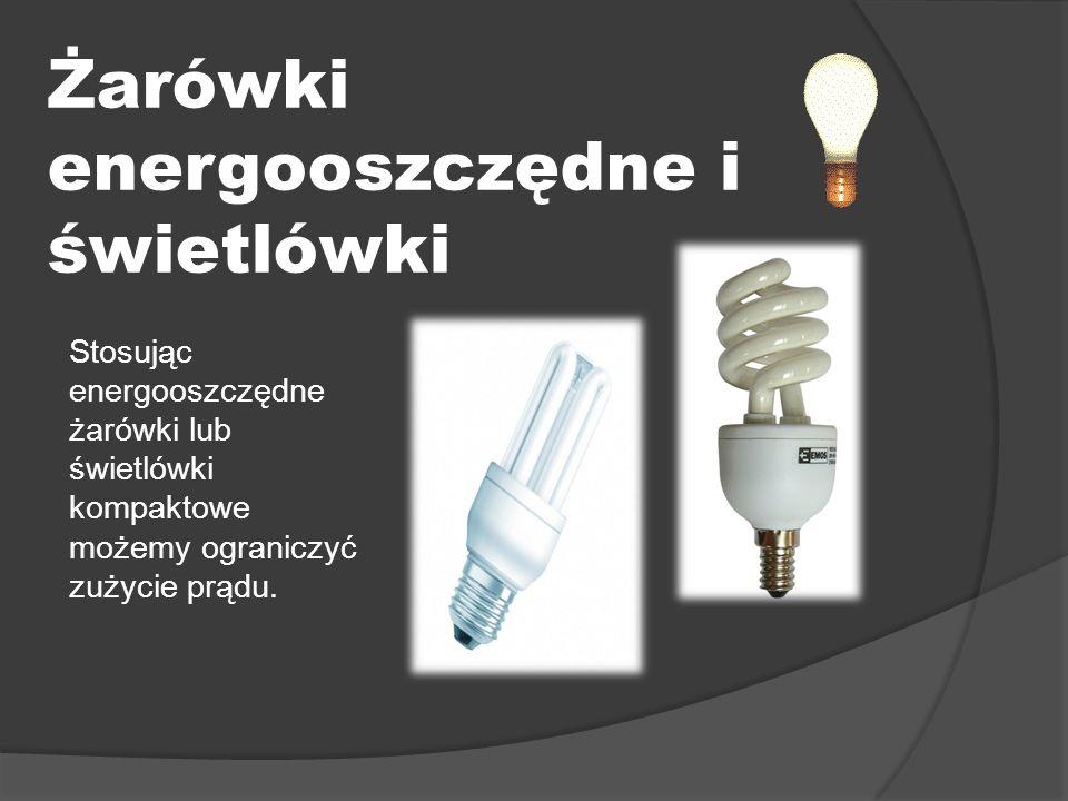 Żarówki energooszczędne i świetlówki Stosując energooszczędne żarówki lub świetlówki kompaktowe możemy ograniczyć zużycie prądu.
