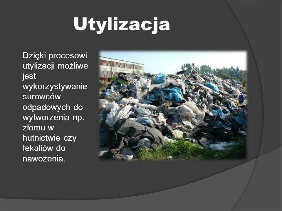 Utylizacja Dzięki procesowi utylizacji możliwe jest wykorzystywanie surowców odpadowych do wytworzenia np. złomu w hutnictwie czy fekaliów do nawożeni