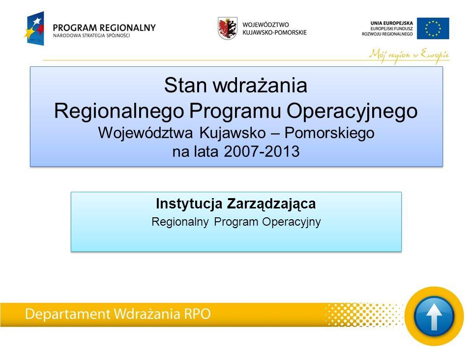 Stan wdrażania Regionalnego Programu Operacyjnego Województwa Kujawsko – Pomorskiego na lata 2007-2013 Instytucja Zarządzająca Regionalny Program Operacyjny Instytucja Zarządzająca Regionalny Program Operacyjny