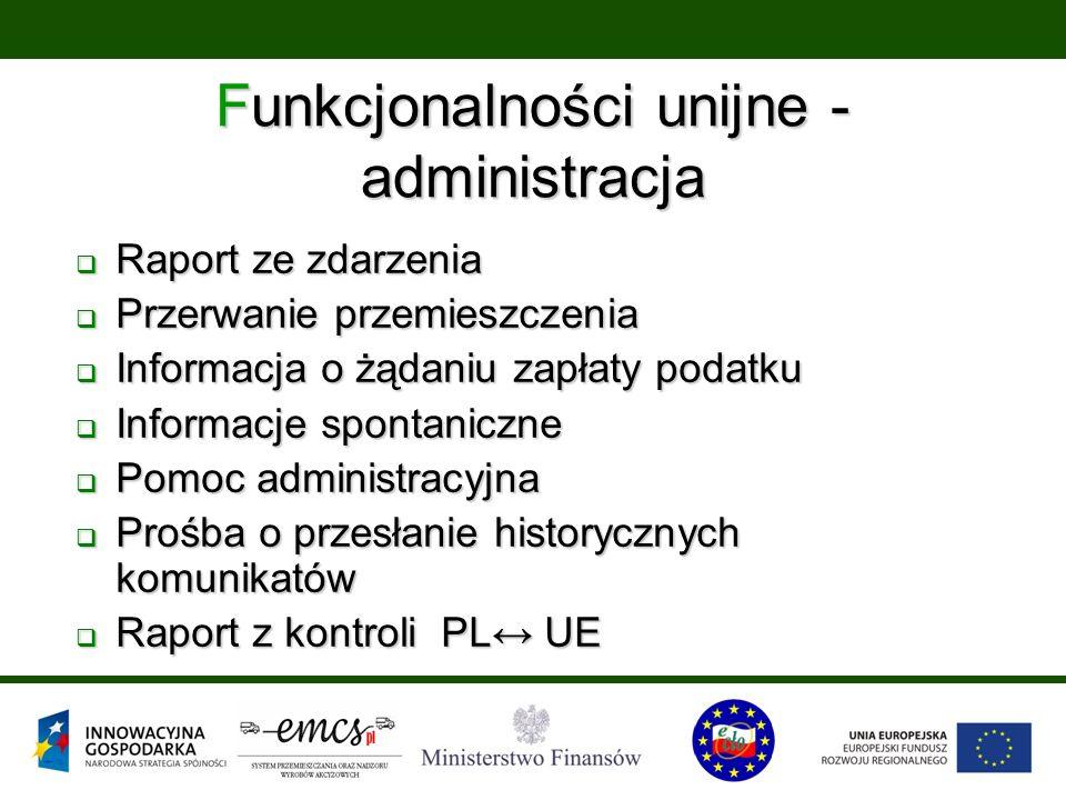 Funkcjonalności unijne - administracja  Raport ze zdarzenia  Przerwanie przemieszczenia  Informacja o żądaniu zapłaty podatku  Informacje spontani