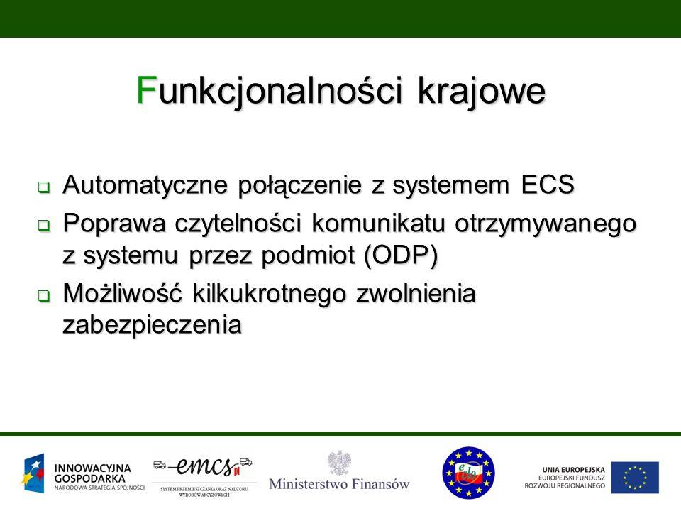 Funkcjonalności krajowe  Automatyczne połączenie z systemem ECS  Poprawa czytelności komunikatu otrzymywanego z systemu przez podmiot (ODP)  Możliw