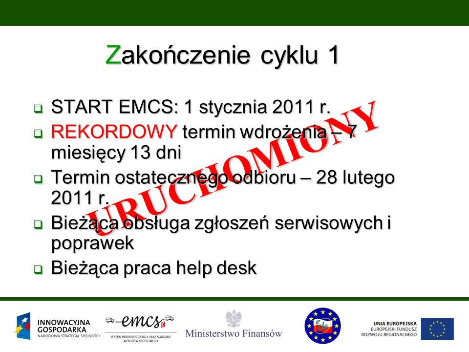 Zakończenie cyklu 1 URUCHOMIONY  START EMCS: 1 stycznia 2011 r.  REKORDOWY termin wdrożenia – 7 miesięcy 13 dni  Termin ostatecznego odbioru – 28 l
