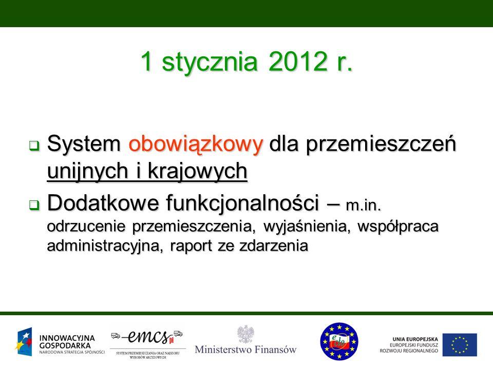 1 stycznia 2012 r.  System obowiązkowy dla przemieszczeń unijnych i krajowych  Dodatkowe funkcjonalności – m.in. odrzucenie przemieszczenia, wyjaśni