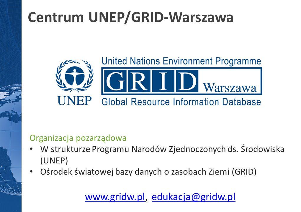 www.gridw.plwww.gridw.pl, edukacja@gridw.pledukacja@gridw.pl Centrum UNEP/GRID-Warszawa Organizacja pozarządowa W strukturze Programu Narodów Zjednocz