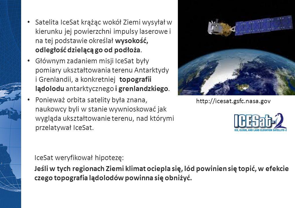 Satelita IceSat krążąc wokół Ziemi wysyłał w kierunku jej powierzchni impulsy laserowe i na tej podstawie określał wysokość, odległość dzielącą go od podłoża.