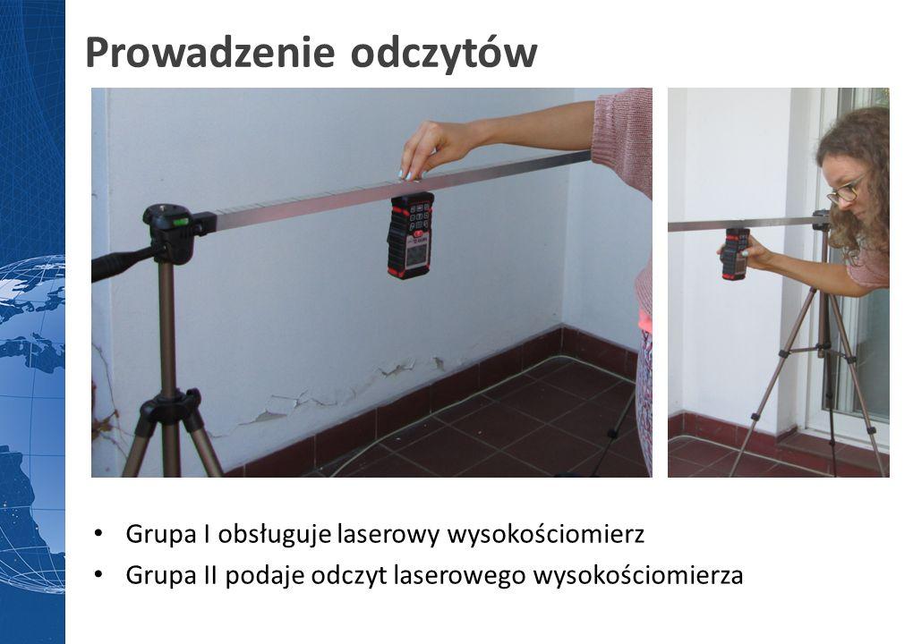 Prowadzenie odczytów Grupa I obsługuje laserowy wysokościomierz Grupa II podaje odczyt laserowego wysokościomierza
