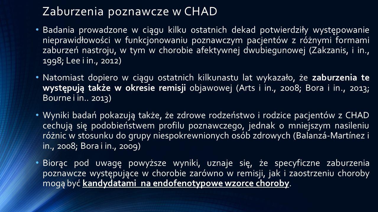 Wnioski Pacjenci z rozpoznaniem CHAD uzyskali istotnie gorsze wyniki w zakresie ogólnych wyników zastosowanych testów, co potwierdza spowolnienie przetwarzania informacji w zakresie bodźców wzrokowo-przestrzennych, językowych oraz w generowaniu informacji.