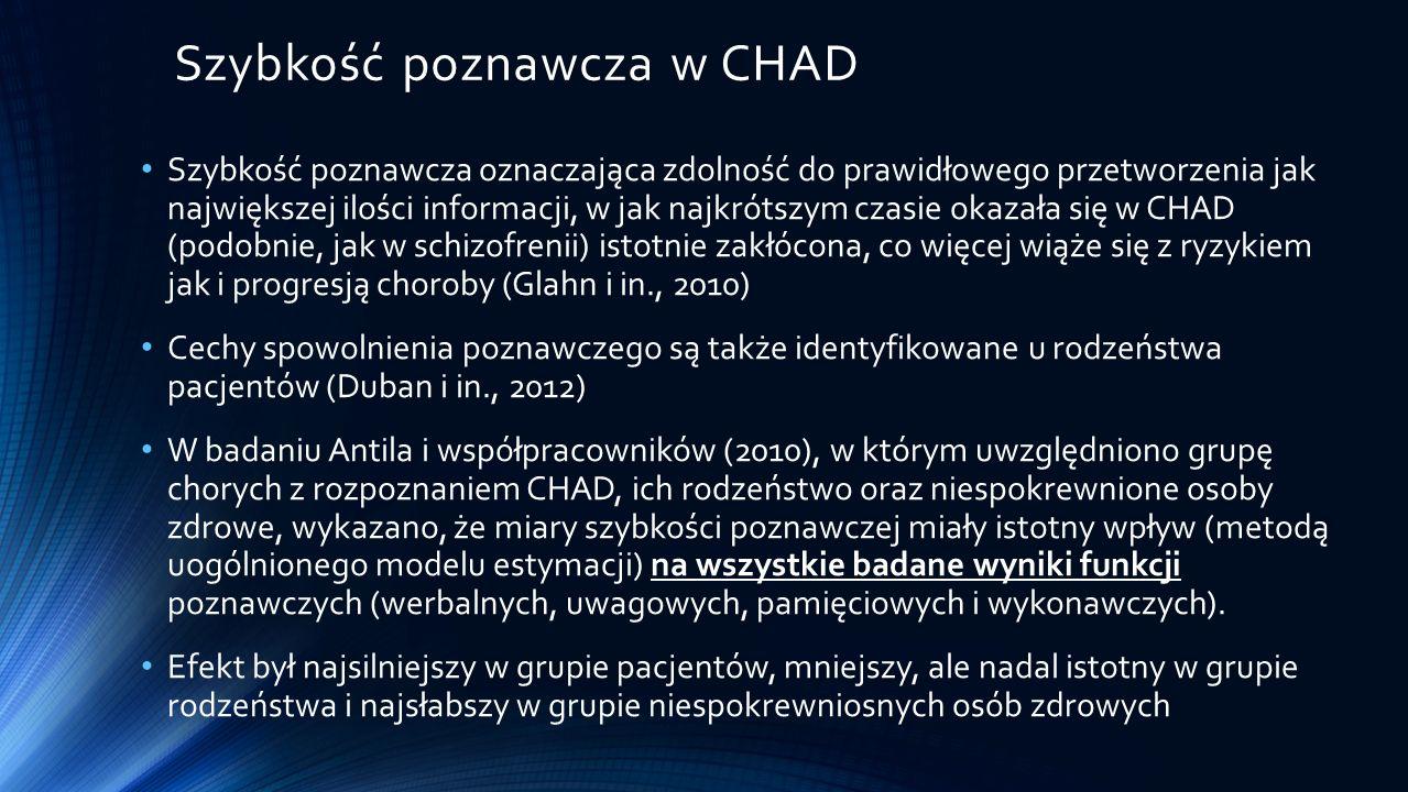 Według naszej wiedzy, dotąd nie analizowano specyfiki wykonania różnych testów związanych z koniecznością szybkiego przetwarzania informacji w grupie CHAD, w aspekcie zmienności efektywności przetwarzania w czasie.