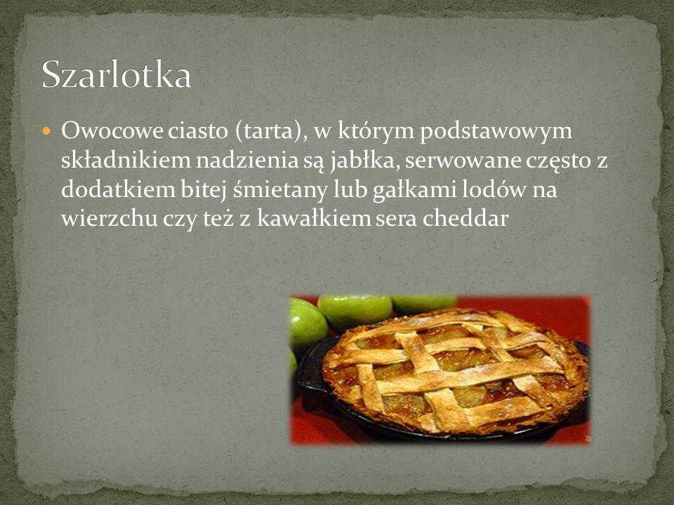 Owocowe ciasto (tarta), w którym podstawowym składnikiem nadzienia są jabłka, serwowane często z dodatkiem bitej śmietany lub gałkami lodów na wierzch