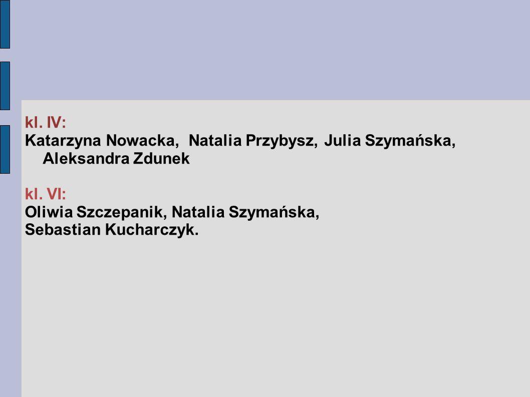 kl. IV: Katarzyna Nowacka, Natalia Przybysz, Julia Szymańska, Aleksandra Zdunek kl.