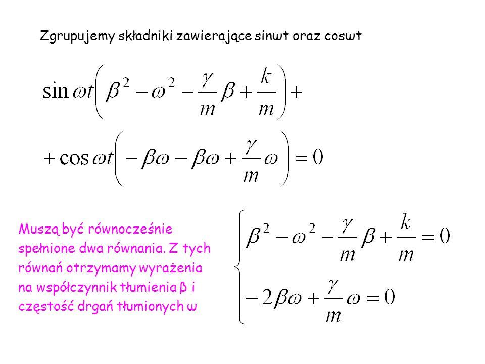 Zgrupujemy składniki zawierające sinωt oraz cosωt Muszą być równocześnie spełnione dwa równania.
