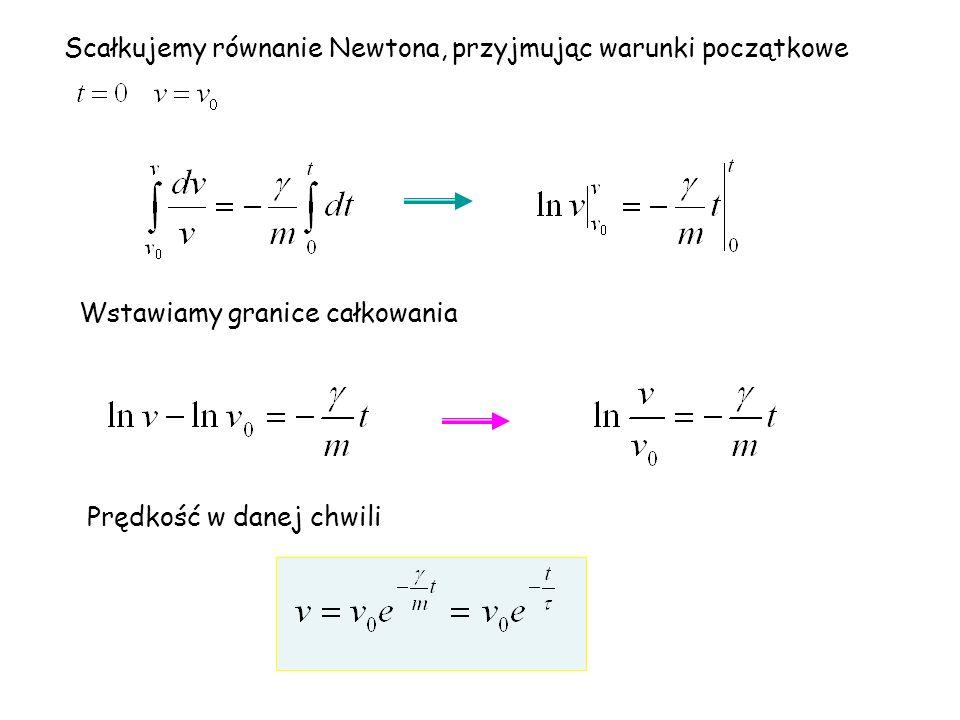Scałkujemy równanie Newtona, przyjmując warunki początkowe Wstawiamy granice całkowania Prędkość w danej chwili